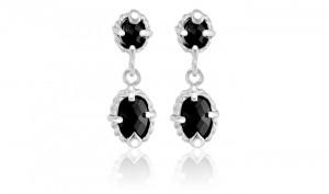 Black Onyx Sterling Silver Bullet Cut Double Round Dangle Earrings
