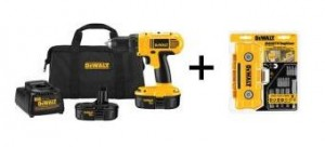 DEWALT 18-Volt NiCad Cordless Compact DrillDriver Kit with 15-Piece Screw Driving Set