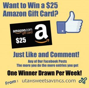 Facebook Amazon Giveaway 25 Image 300x297 $25 Amazon Gift Card Winner!! Weekly Facebook Giveaway 9/24.