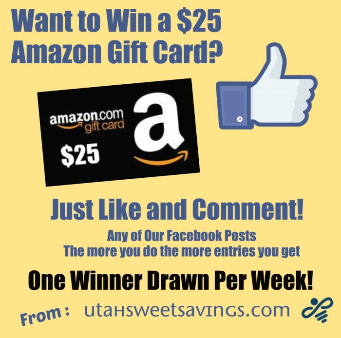 Facebook Amazon Giveaway 25 Image Giveaway:  $25 Amazon Gift Card!  Win Once a Week on Facebook!