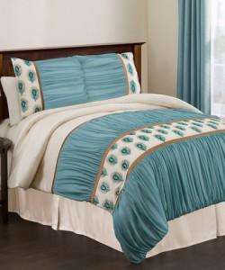 Ivory & Turquoise Aurora California King Comforter Set