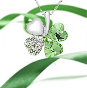 Swarovski Elements Green Crystal Silver-Tone Four Leaf Clover Pendant