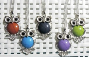 crystal encrusted marble owl necklaces