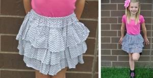 girls chevron ruffle skirt