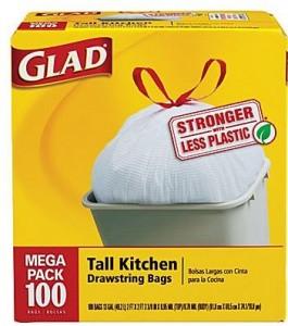 glad kitchen trash bags drawstring megapack 100 staples deal