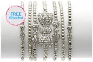 silver stretchy bow bracelet