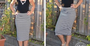 striped pencil skirts