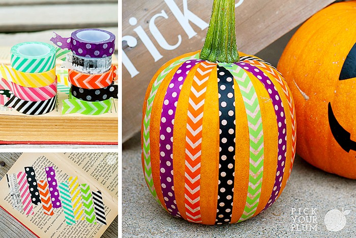 Washi tape for plus fun pumpkin decorating idea