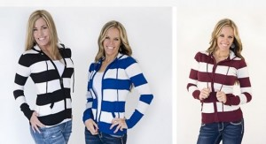 zipper hooded striped sweaters