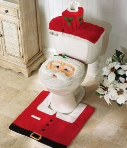 3-Pc Happy Santa Toilet Seat Cover and Rug Set