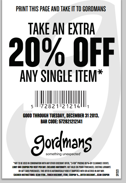 photo relating to Gordmans Printable Coupon called Clean Gordmans Coupon! 20$ Off Any Product! Utah Cute Personal savings