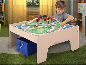 Wooden Activity Table with 45-Piece Train Set & Storage Bin