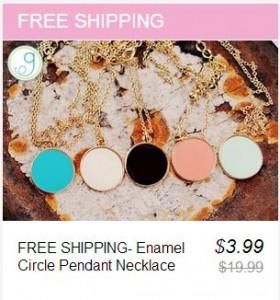 enamel circle pendant necklace