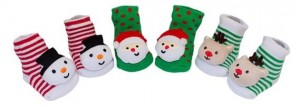 holiday rattle booties 3 pack