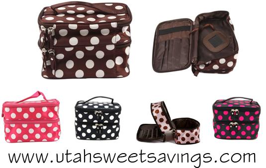 polka dot cosmetics bags  Polka Dot Cosmetics Cases Starting at $5.15! *CUTE!*