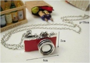 red retro camera necklace
