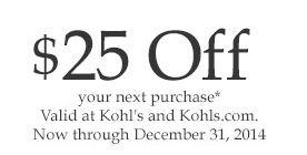 $25 off kohl's