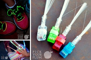 Glow in the dark shoelaces and fingers