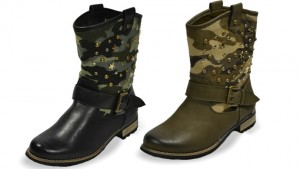Henry Ferrera Faux Leather Two-Tone Camouflage Boots
