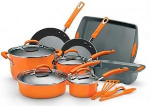Rachael Ray 15 Piece Nonstick Oven-Safe Enamel Cookware Set w Glass Lids, Baking Pans, & Stay-Cool Handles