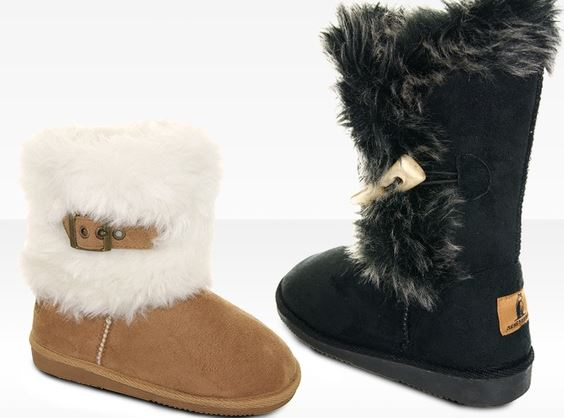 Rugged Bear Girl's Faux Fur Winter Boots