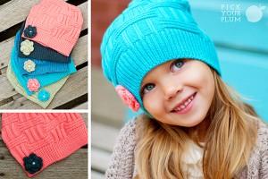 flower knit hats