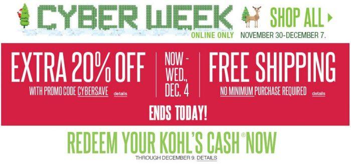kohls cash reminder cyber week last day