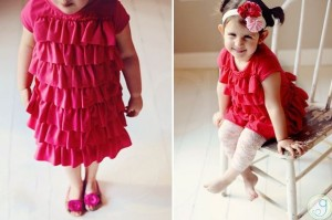 little girl pink or red ruffle dress