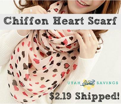 Chiffon Heart Scarf Chiffon Heart Print Scarf for $2.19 Shipped!