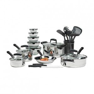 Essential Home 25 Piece Mega Stainless Steel Cookware Set