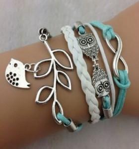 Leather Wrap Bracelet with Silver Infinity Symbol, Owl, Leaf, & Bird