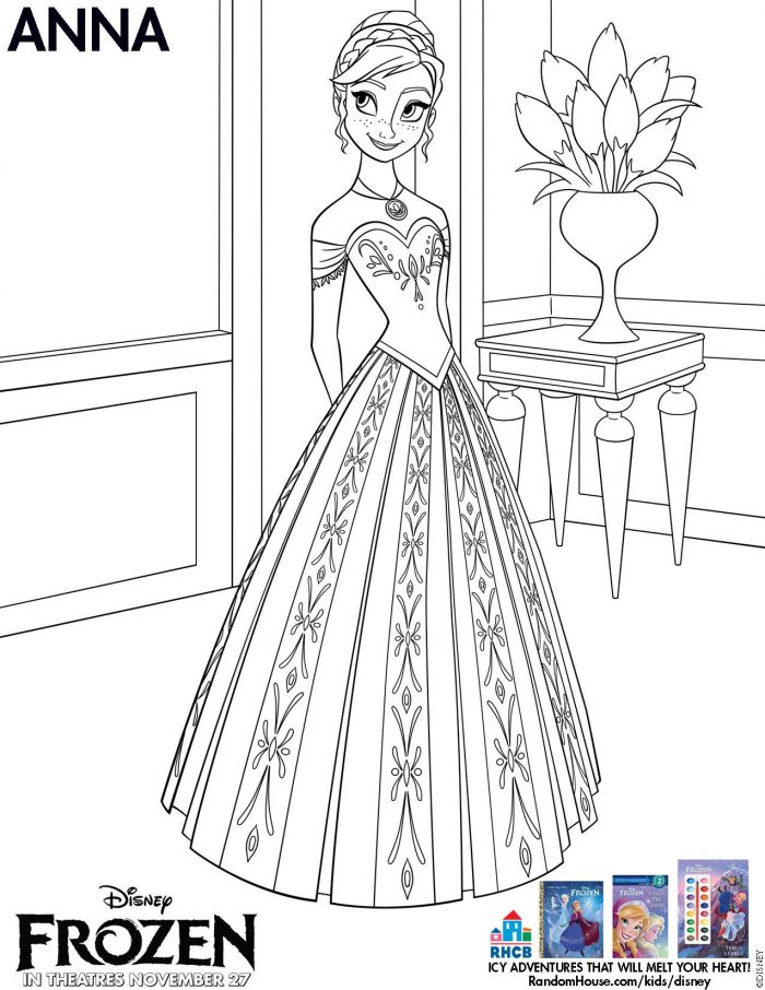 Coloring book printable frozen - Anna Coloring Page