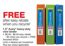free avery heavy duty binders at staples after easy rebate