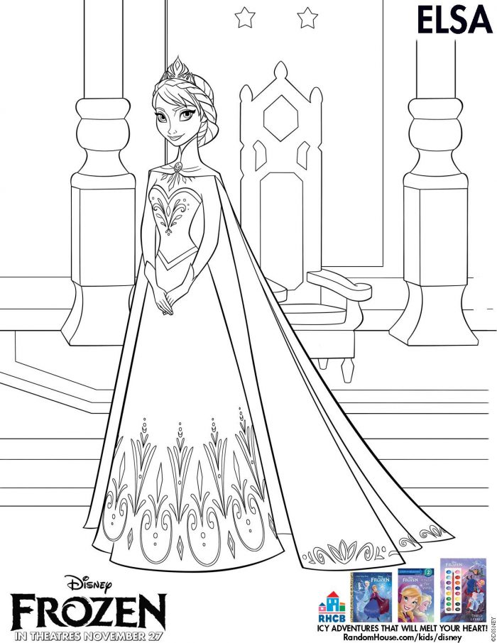 elsa coloring page - Frozen Printable Coloring Pages