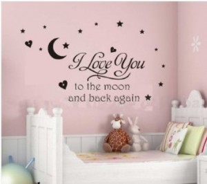 i love you to the moon and back again wall art quote