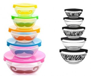 5-Piece Glass Bowl Set with Lids mustache or zebra
