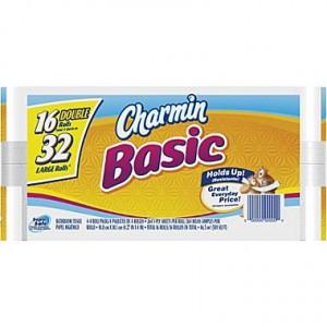 Charmin Basic Bath Tissue Rolls, 1-Ply, 16 RollsCase
