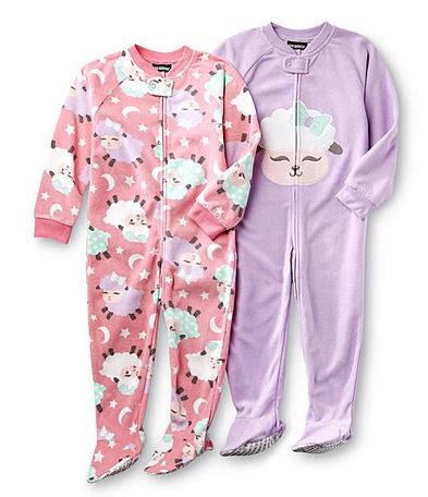 Joe Boxer Toddler Girl's Footie Pajamas 2-Pack