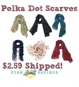 Polka Dot Scarves $2.59