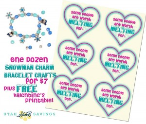 Snowman Charm Barcelet and Free Frozen Valentine Printable