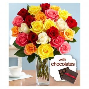 Two Dozen Rainbow Roses w Square Glass Vase & Chocolates