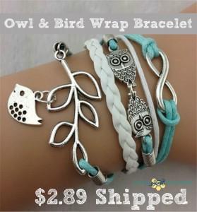 Vintage Silver Wrap Bracelet Owl Leaf Bird