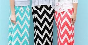 bold spring chevron maxi skirts
