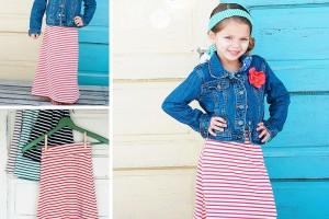 girls stripe maxi skirts