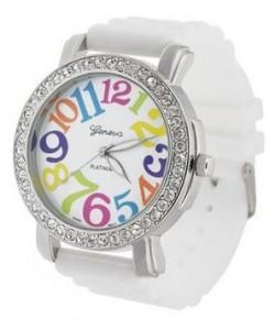 Geneva Women's Platnium Large Round Face Silicone Watch
