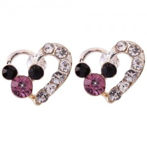 Mickey Mouse Colorful Crystal Inlay Mini Stud Earrings