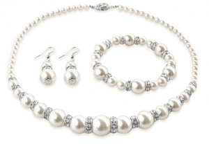 Pearl Earrings, Bracelet, & Necklace Made with Swarovski Elements