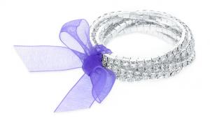Silver Overlay Swarovski Elements Six Piece Bracelet Set w Purple Bow