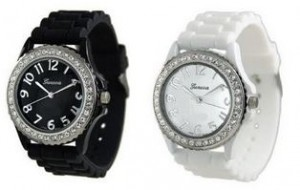 White Black 2 Pack Geneva Crystal Rhinestone Large Face Watch with Silicone Jelly Link Band 300x190 Silicone Watches as low as $3.94 Shipped!