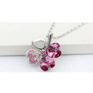 four leaf clover necklace pink